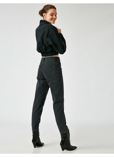Koton Pamuklu Yüksek Bel Mom Jeans Gri